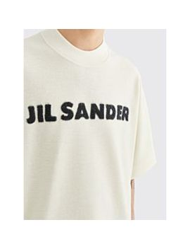 Jil Sander Knitted Logo Wool T Shirt White by Très Bien