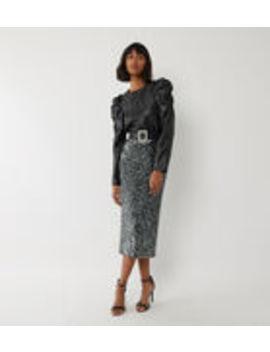 Sequin Midi Skirt by Warehouse