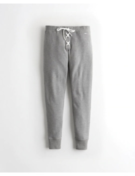 Ultra High Rise Lace Up Fleece Leggings by Hollister