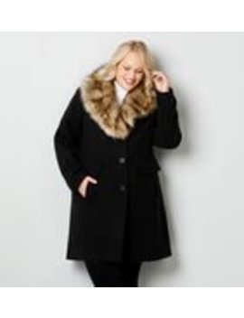 Long Faux Wool Coat With Removable Collar by Avenue