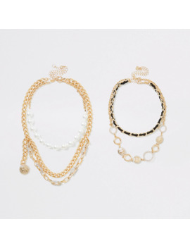 Gold Colour Ri Layered Necklace Multipack by River Island
