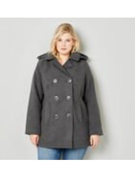 Faux Wool Peacoat With Removable Hood by Avenue