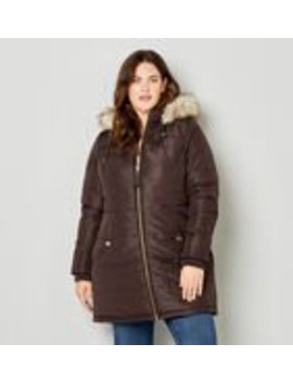 Faux Leather Trim Puffer Jacket With Removable Hood by Avenue