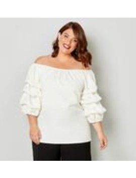 Pearl Detail On Off The Shoulder Top by Avenue