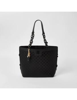 Black Ri Embossed Chain Handle Shopper Bag by River Island