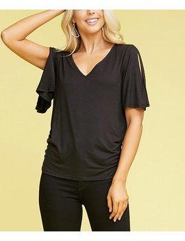 Black Side Shirred Split Sleeve V Neck Top   Women &Amp; Plus by Doublju