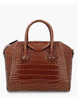 Antigona Brown Leather Moc Croc Grab Bag by Givenchy