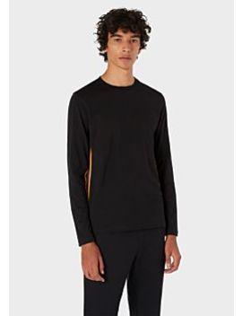 Men's Black Long Sleeve T Shirt With 'artist Stripe' Trim by Paul Smith
