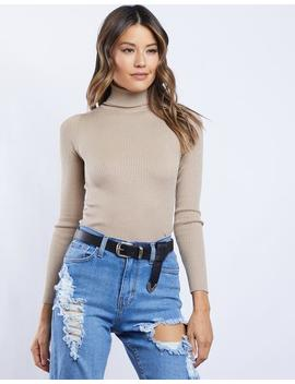 Keep It Sweet Ribbed Turtleneck by 2020 Ave