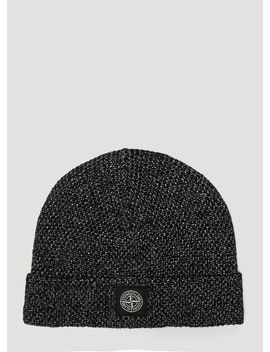 Logo Patch Beanie Hat In Black by Stone Island