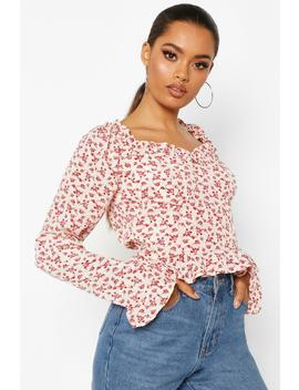 Woven Floral Ruffle Detail Blouse by Boohoo