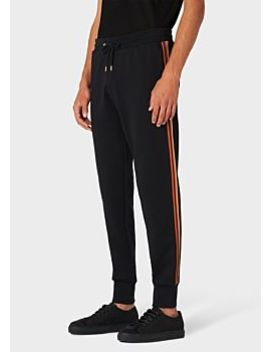 Men's Black 'artist Stripe' Cotton Sweatpants by Paul Smith