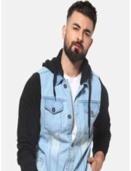 Men Blue Solid Denim Jacket by Campus Sutra