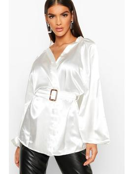 Satin Belted Buckle Detail Kimono by Boohoo