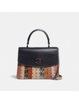 Parker Top Handle With Signature Canvas Patchwork Stripes And Snakeskin Detail by Coach