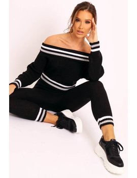 Black Knitted Bardot Jumper Legging Co Ord   Neala by Rebellious Fashion