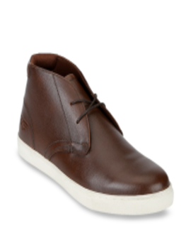 Men Coffee Brown Solid Leather Mid Top Derbys by Red Tape