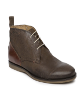Men Brown Solid Genuine Leather Mid Top Desert Boots by Ruosh
