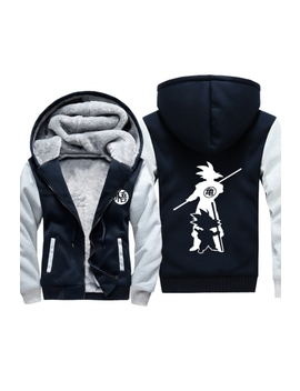 3 D Comic Character Printed Long Sleeve Warm Thick Casual Zip Up Hoodie by Beautiful Halo