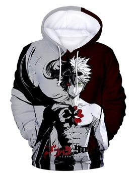 Black Clover Comic Figure 3 D Printed Grey And Red Pullover Sport Hoodie by Beautiful Halo