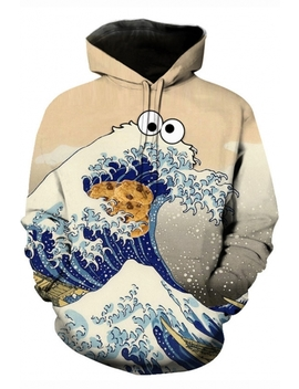 Ukiyo E 3 D Cartoon Wave Cookie Pattern Long Sleeve Pullover Sport Casual Apricot Hoodie by Beautiful Halo