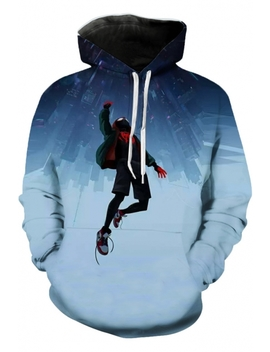 Men's Cool Cosplay Fashion 3 D Print Blue Loose Hoodie by Beautiful Halo