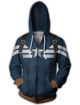 Cosplay Long Sleeve Loose Fit Zip Up Blue Hoodie by Beautiful Halo