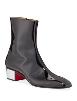 Men's Palace Disco Patent Red Sole Boots by Christian Louboutin