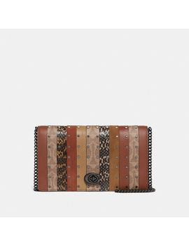 Callie Foldover Chain Clutch With Signature Canvas Patchwork Stripes And Snakeskin Detail by Coach