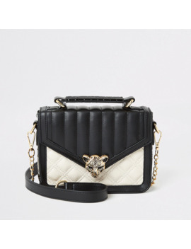 Girls Panther Charm Quilted Black Satchel Bag by River Island