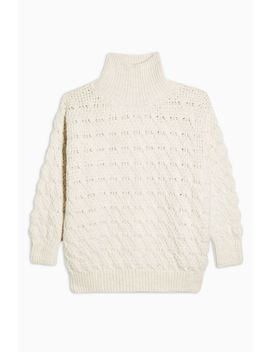 Ivory Textured Funnel Neck Sweater by Topshop