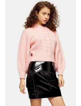 Petite Pink Knitted Pointelle Crop Sweater by Topshop
