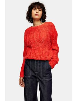 Red Knitted Petal Gauzy Sweater by Topshop