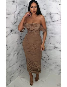 Camel Bardot Cowl Neck Ruched Midi Dress   Malia by Femme Luxe