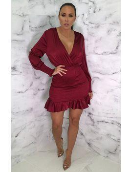 Wine Plunge Cuff Sleeve Bodycon Mini Dress   Teey by Femme Luxe