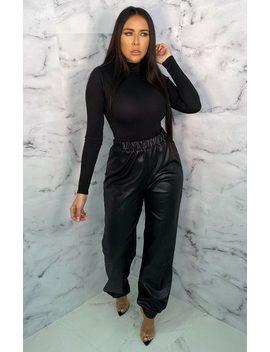 Black High Waisted Pu Cuffed Leg Joggers   Loz by Femme Luxe