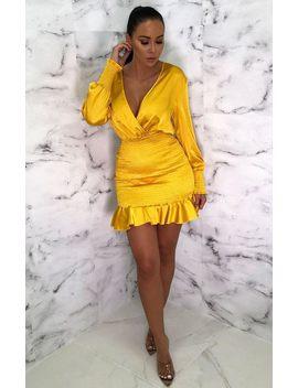 Mustard Plunge Cuff Sleeve Bodycon Mini Dress   Teey by Femme Luxe