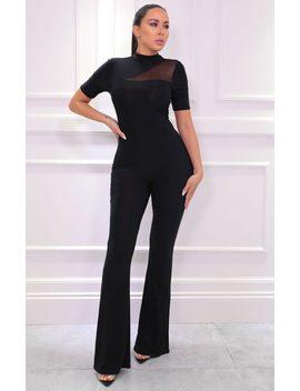 Black Mesh Panel Wide Leg Jumpsuit   Wendy by Femme Luxe