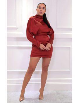 Rust Satin Draped Mini Dress   Tatiana by Femme Luxe