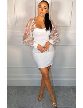 White Organza Mesh Cuffed Sleeve Mini Dress   Faith by Femme Luxe