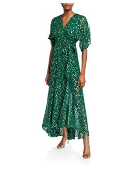 Hutch Gemma Metallic Confetti Silk Blend Wrap Dress by Hutch