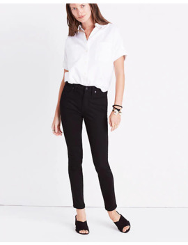 """Petite 9"""" Mid Rise Skinny Jeans In Isko Stay Black™ by Madewell"""
