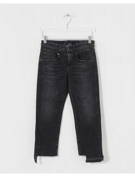 Black Boy Straight W/ Uneven Hem Jeans by R13