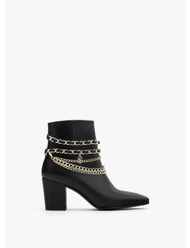 Leather Ankle Boots With Chains by Uterqüe