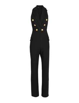Sleeveless Double Breasted Wool Jumpsuit by Balmain