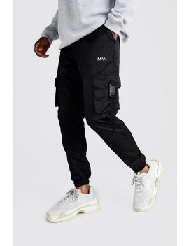 Official Man Shell Buckle Joggers by Boohoo Man
