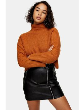 Petite Camel Funnel Neck Sweater by Topshop