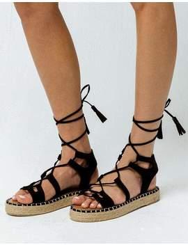 Qupid Lace Up Gladiator Black Womens Espadrilles Flatform Sandals by Qupid