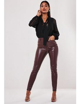 Wine Faux Croc Slim Leg Trousers by Missguided