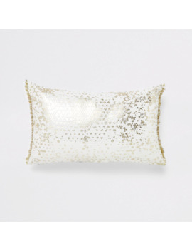 White And Gold Sequin Rectangle Cushion by River Island